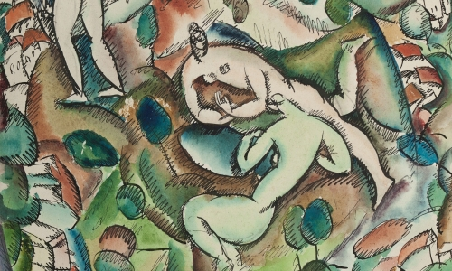 NUDES IN THE LANDSCAPE, 1924, Indian ink and watercolor / paper, 30x23.7cm