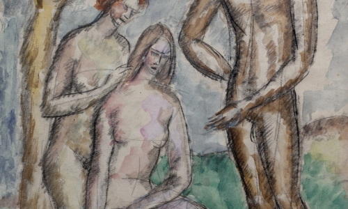 THREE NUDES IN THE LANDSCAPE, 1919, pencil and watercolor / paper, 31x26cm